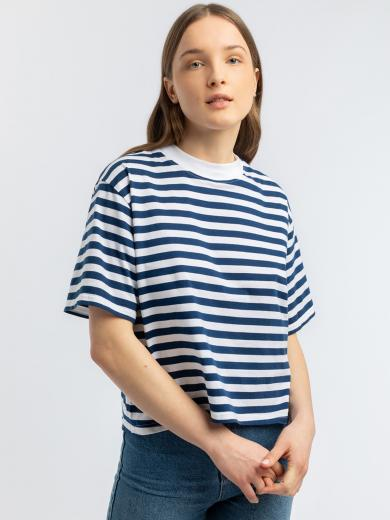 Rotholz Cropped T-Shirt navy white