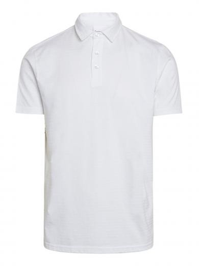 Knowledge Cotton Apparel Rowan tone-in-tone striped polo Bright White