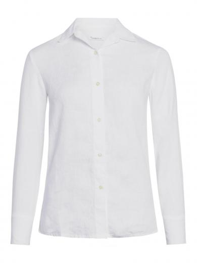 Knowledge Cotton Apparel Sage classic reg linen shirt Bright White