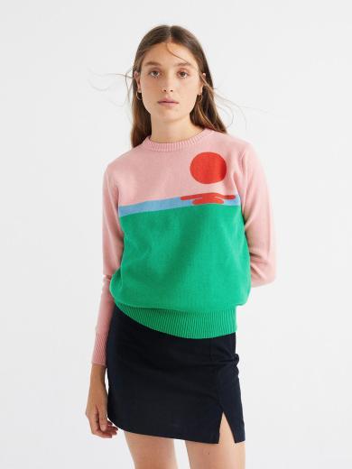 Thinking MU Sunset Trash Knit Sweater rosa grün