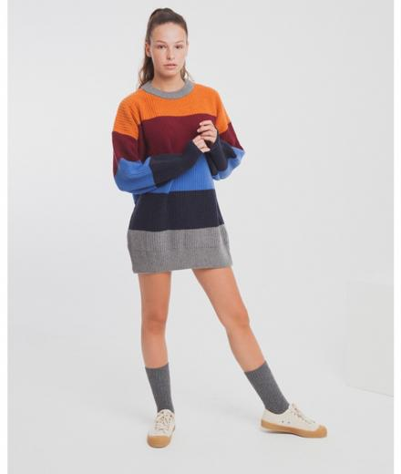 Thinking MU Cabernet Stripes Oversized Knit