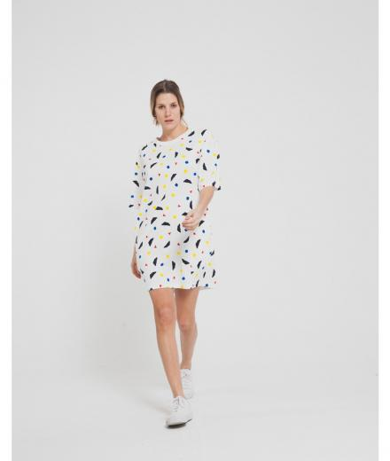 Thinking MU Calder Tee Dress Snow White | M