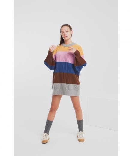 Thinking MU Pink Stripes Oversized Knit