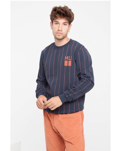 Thinking MU Vertical Stripes Blue Sweatshirt