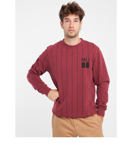 Thinking Mu Vertical Stripes Red Sweatshirt red melange | L