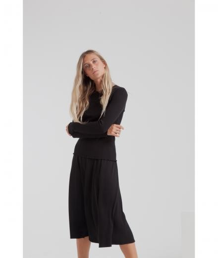 Thinking MU Mae Long Rib Skirt black