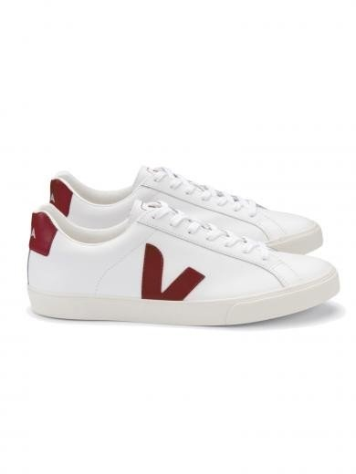 VEJA Esplar Logo Leather Extra White Marsala