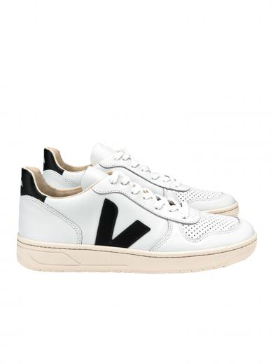 VEJA V-10 Leather Extra White Black Extra White Black