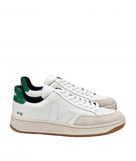 VEJA V12 B-Mesh White White Emeraude Natural Outsole
