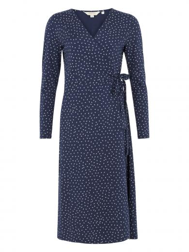 People Tree Lisa Leaf Print Wrap Dress blue