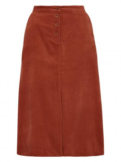 People Tree Rachel Velvet Skirt cinnamon