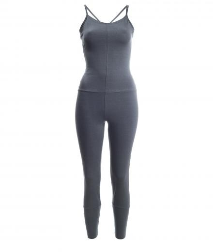 YOIQI Jumpsuit Tight Cross Dark Grey | M