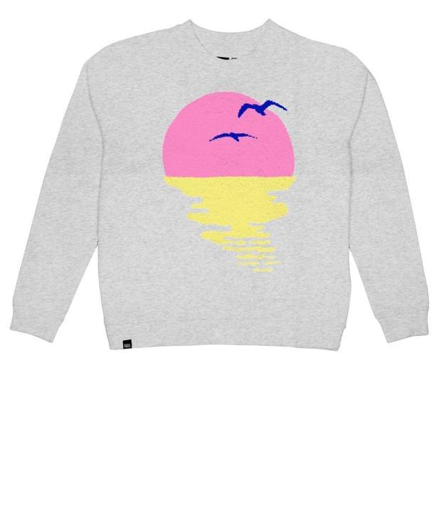 DEDICATED Sweatshirt Ystad Sunset Chenille WOMEN Grey Melange S