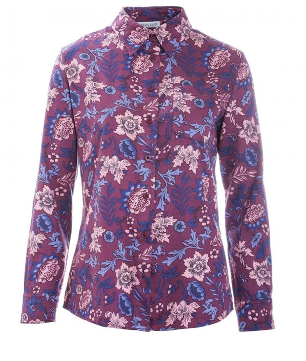 Frieda Printed Shirt Tawnyport Wine Red Print from Glore