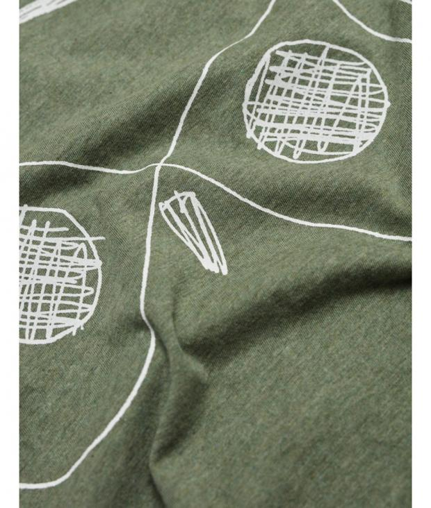 Single Jersey with Owl Print Green Melange from Glore