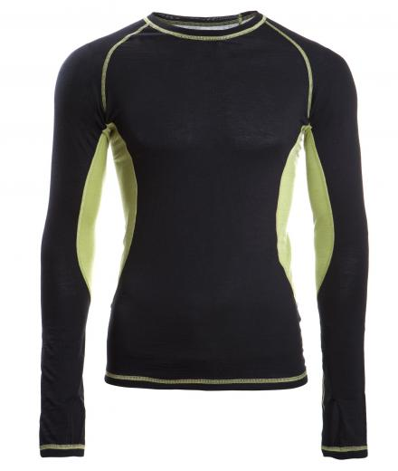 ENGEL SPORTS Shirt langarm Men black/lime | XL