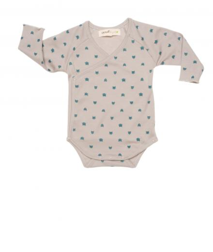 Oeuf Kimono Onesie Long Sleeve light-grey | 12M
