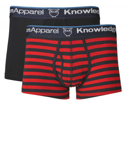 Knowledge Cotton Apparel Underwear 2pack Striped/Solid Pompeain Red S