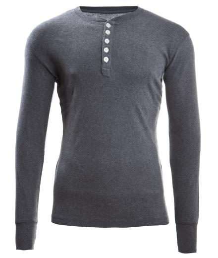Knowledge Cotton Apparel Rib Knit Henley Dark Grey Melange