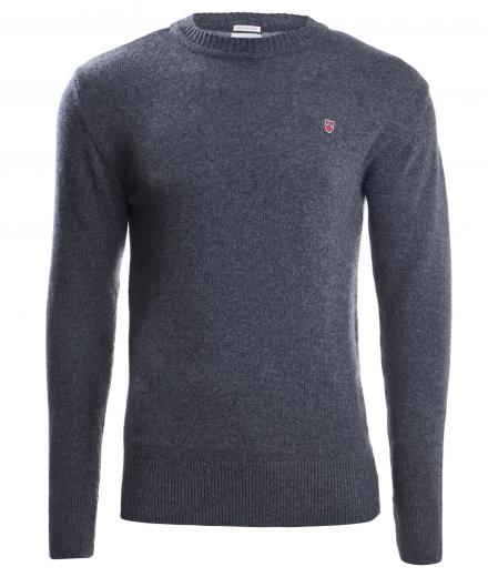 Knowledge Cotton Apparel Retro Round Neck Knit L | Dark Grey Melange