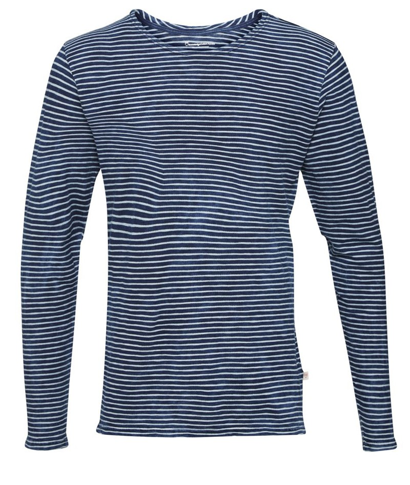 knowledge cotton apparel yarndyed striped indigo long sleeve t shirt herren glore. Black Bedroom Furniture Sets. Home Design Ideas
