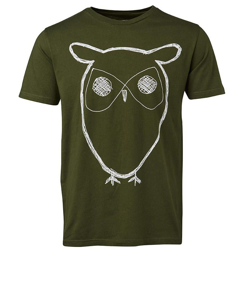 knowledge cotton apparel single jersey with owl print gots t shirts tanks bio t shirts. Black Bedroom Furniture Sets. Home Design Ideas